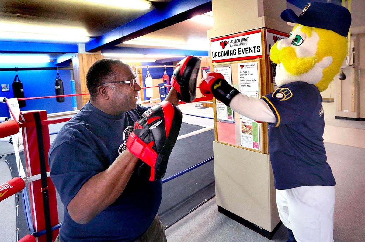 Milwaukee Brewers Mascot, Bernie Brewer at The Good Fight