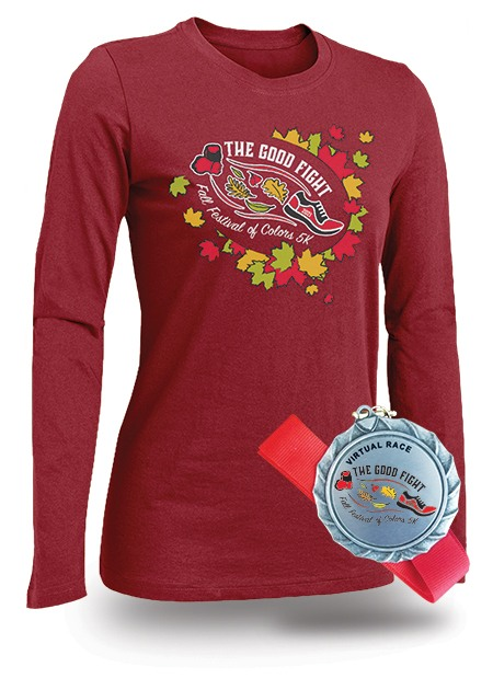The Good Fight Fall Festival of Colors 5K - Virtual Run/Walk 2021 T-shirt and Medal.